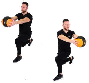 Ausfallschritt mit Rotation und Medizinball