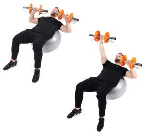 Abwechselndes Brustdrücken auf dem Gymnastikball