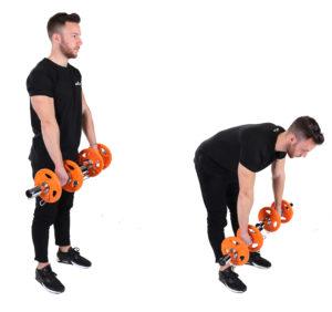 Kreuzheben mit nach hinten gestreckten Bein und Hanteln
