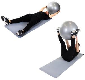 Ballübergabe in Rückenlage mit Gymnastikball