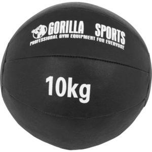 Medizinball aus Leder in Schwarz 10 kg
