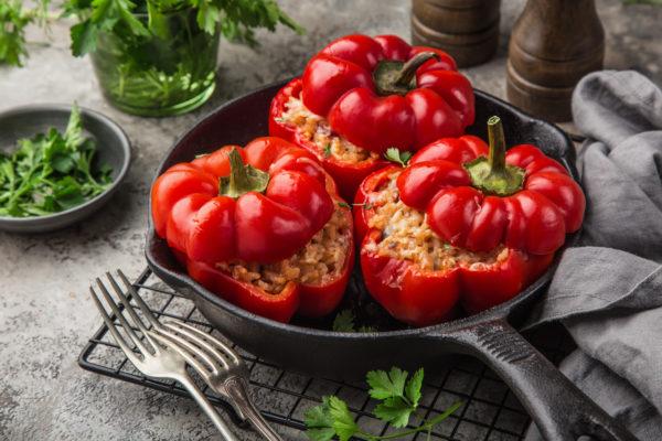Gefüllte Paprika mit Hackfleisch und Reis