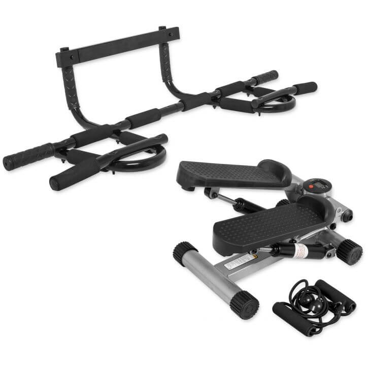Multifunktions Pull Up Bar + Minifitnessstepper mit Expander Set