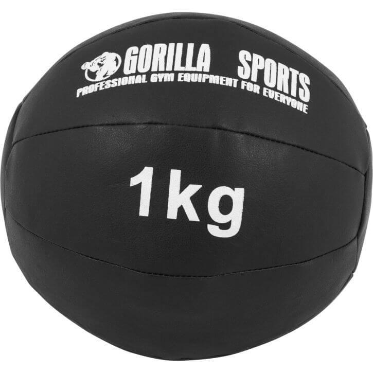 Medizinball Kunstleder Schwarz 1 kg