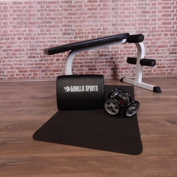 Kraftstationen GORILLA SPORTS® Sixpack Hantelbank Ab Wheel Sit Up Kissen Yogamatte Krafttraining & Gewichte