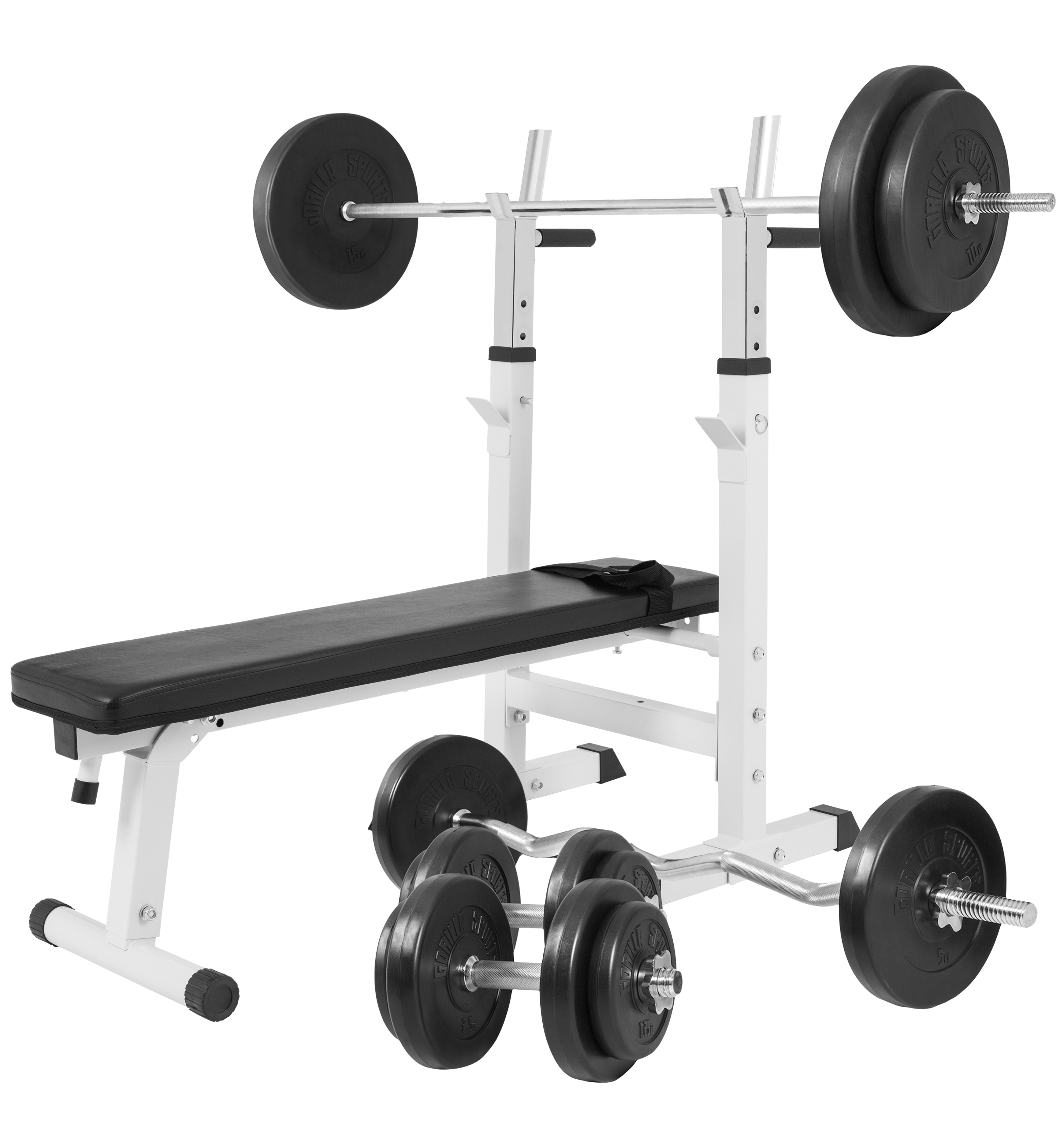 Gorilla Sports Hantelbank weiß mit Langhantelset 100 kg 100299-00022-0048