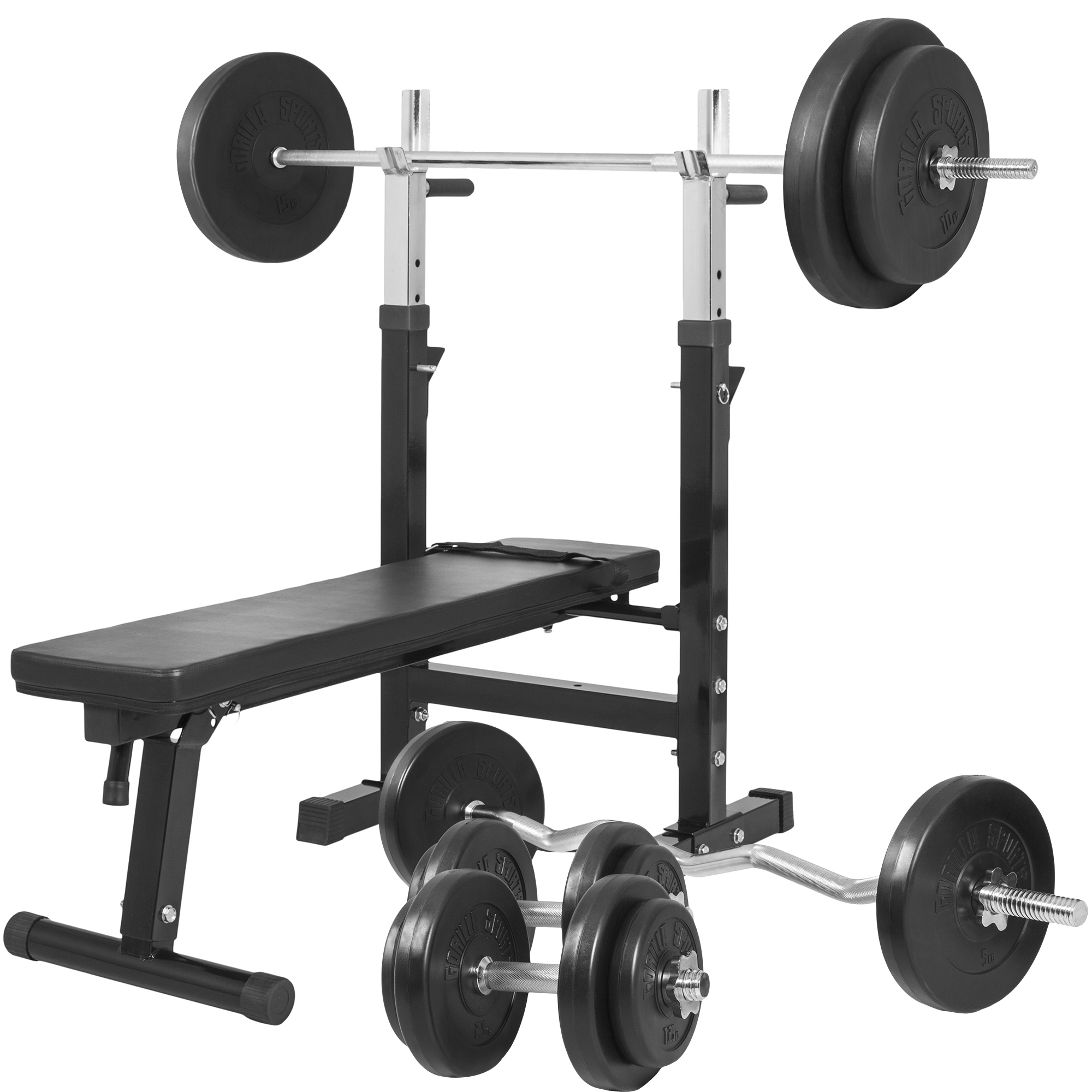 Gorilla Sports Hantelbank mit Langhantelset 100 kg 100299-00019-0048