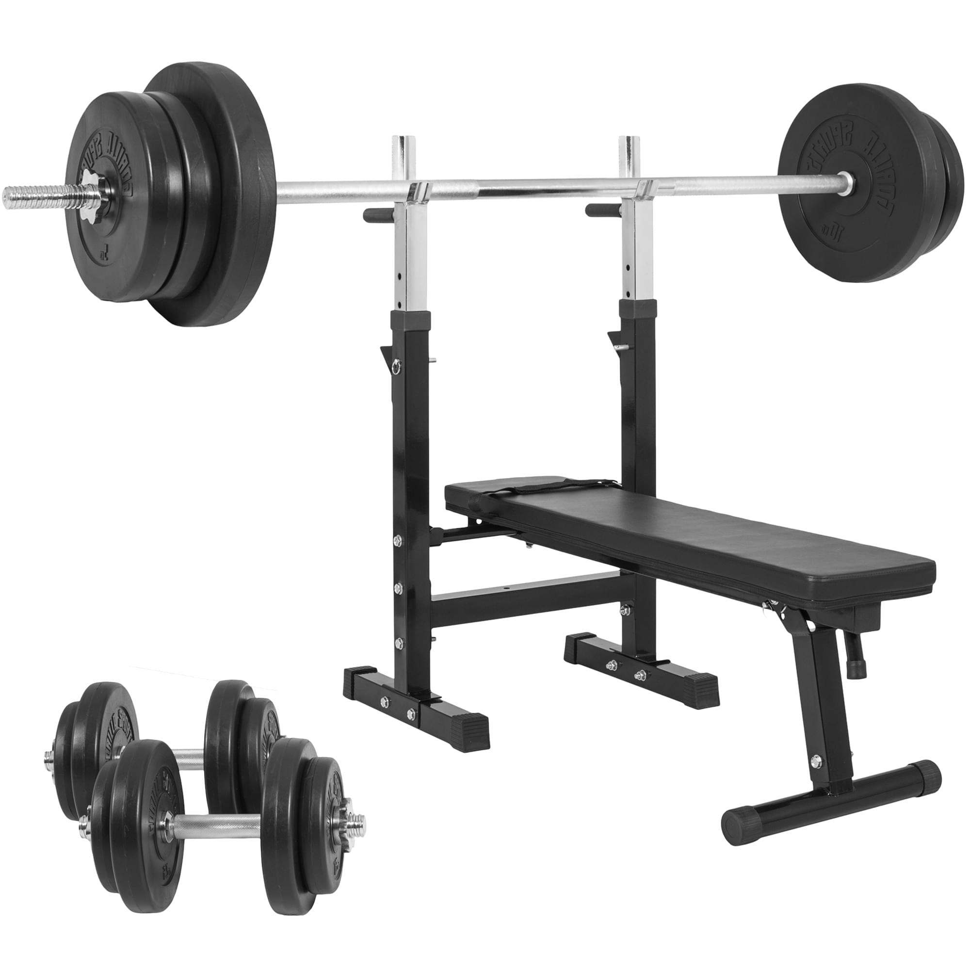 Gorilla Sports Hantelbank mit Langhantelset 70 kg 100420-00006-0046