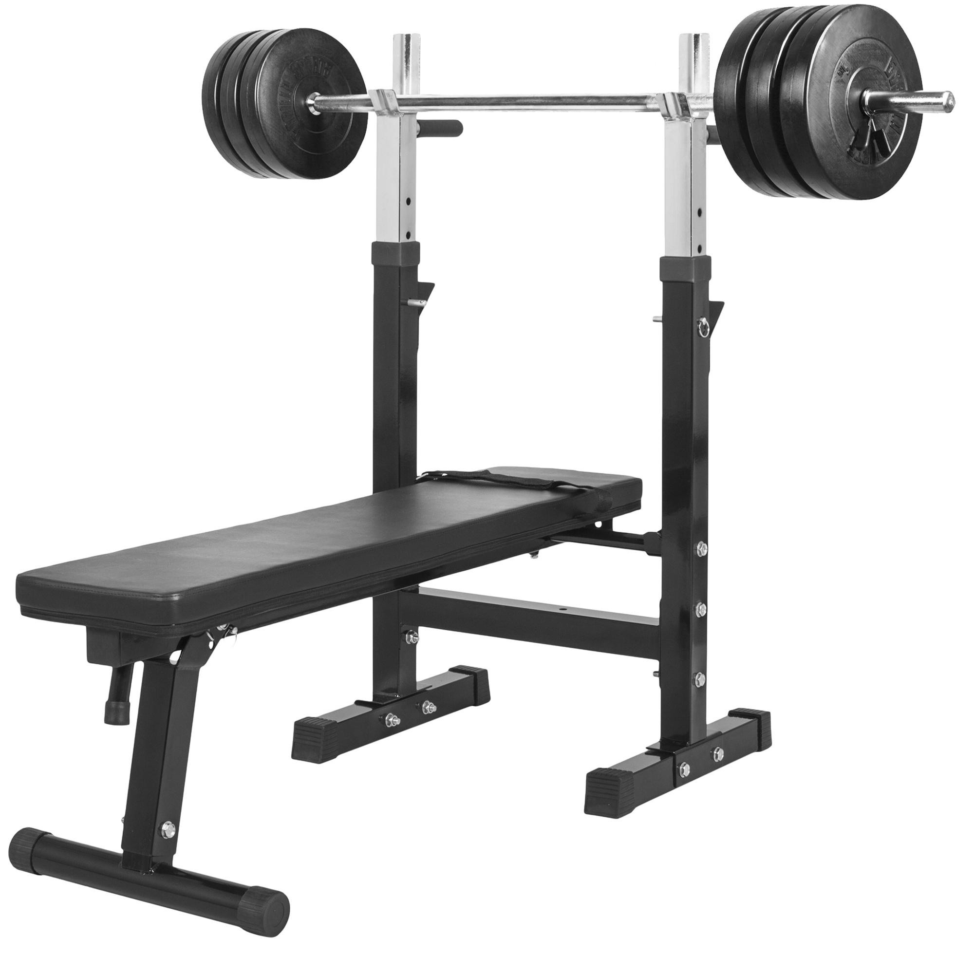 Gorilla Sports Hantelbank mit Langhantelset 38 kg 100421-00006-0038