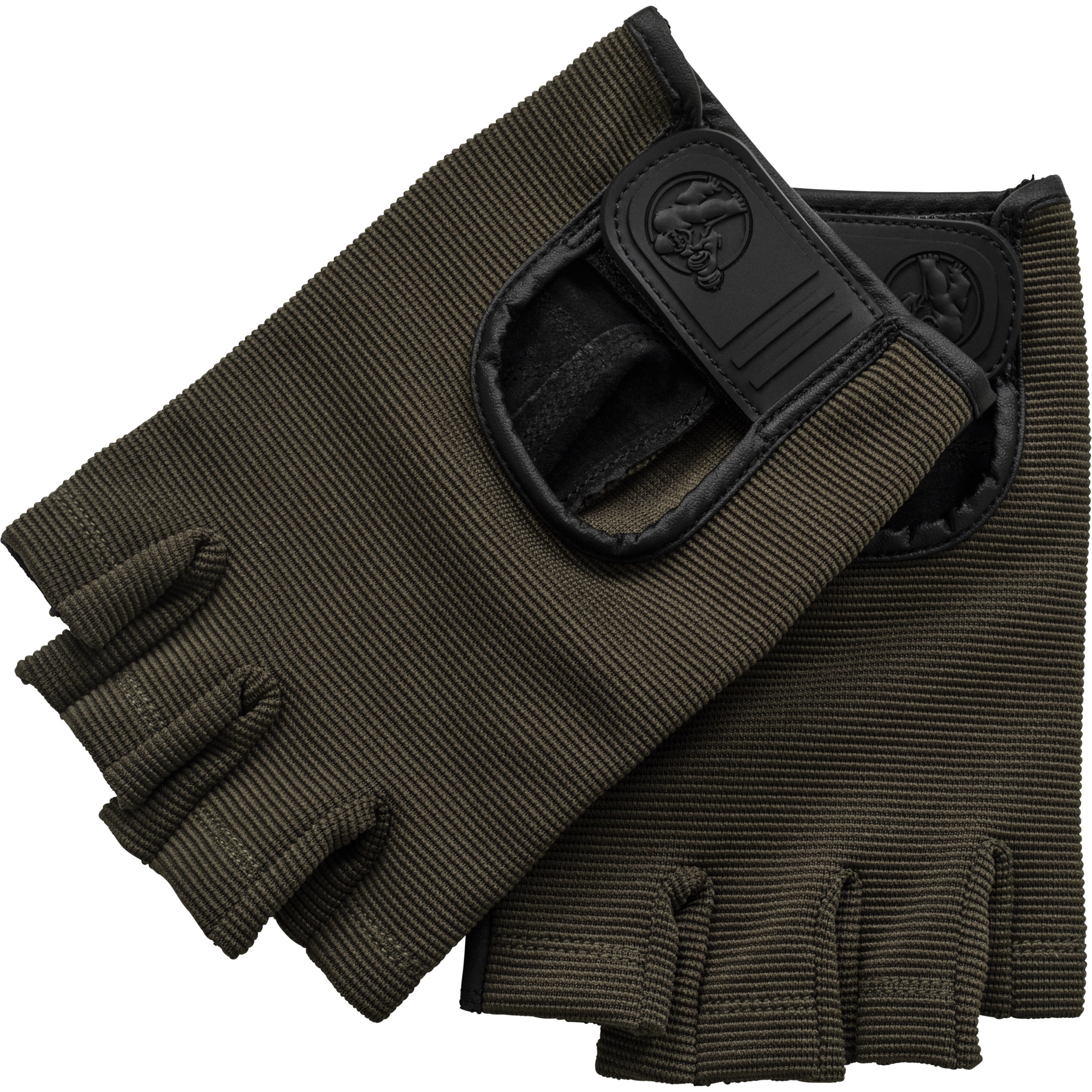 Fitness Handschuhe Leder Khaki M