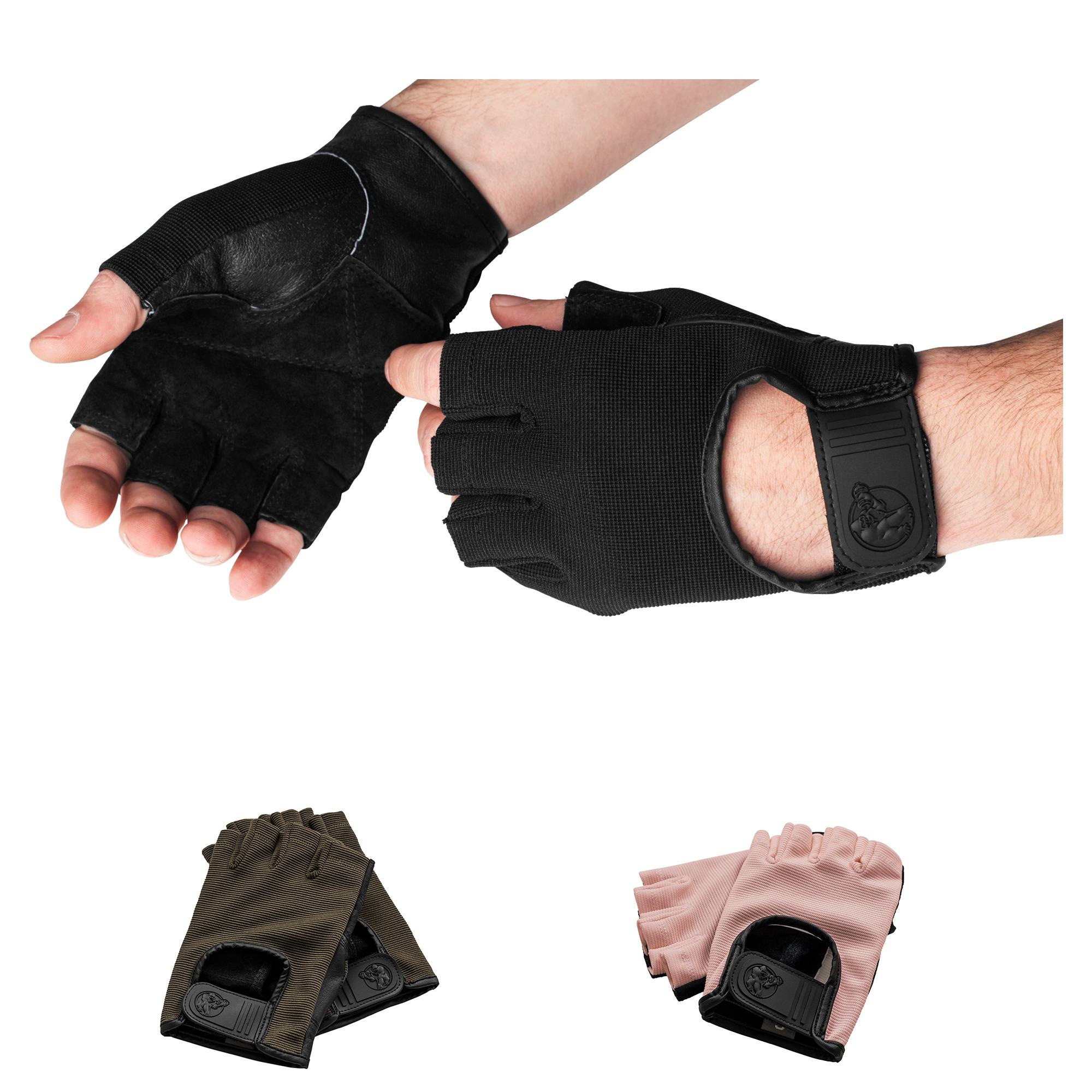 Fitness Handschuhe Leder in Schwarz/Rosa/Khaki