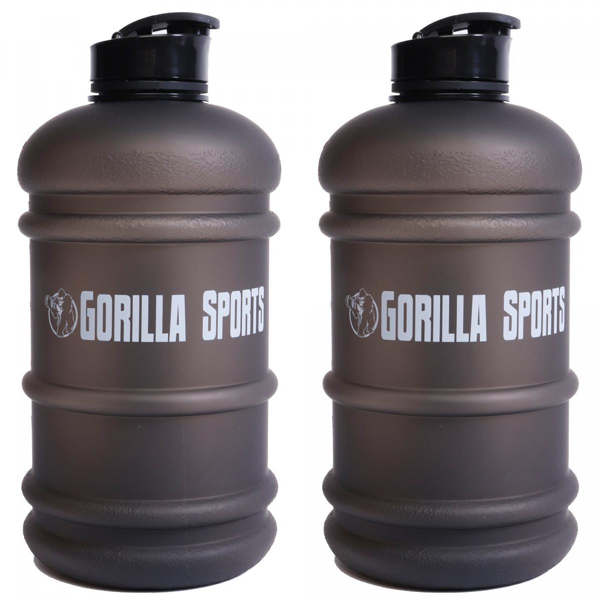 Gorilla Sports 2er Set Trinkflasche Gallone 2,2 L Schwarz 101171-00019-0137