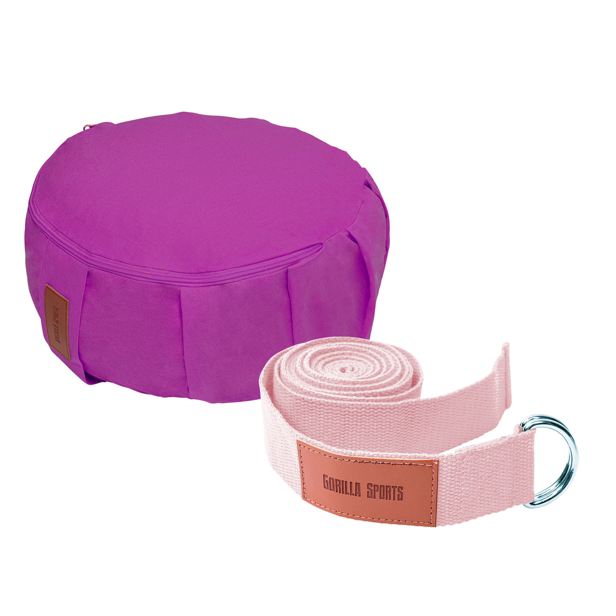 Gorilla Sports Yoga Set Lila/Pink inkl. Yogakissen und Yogagurt 101133-00040-0001