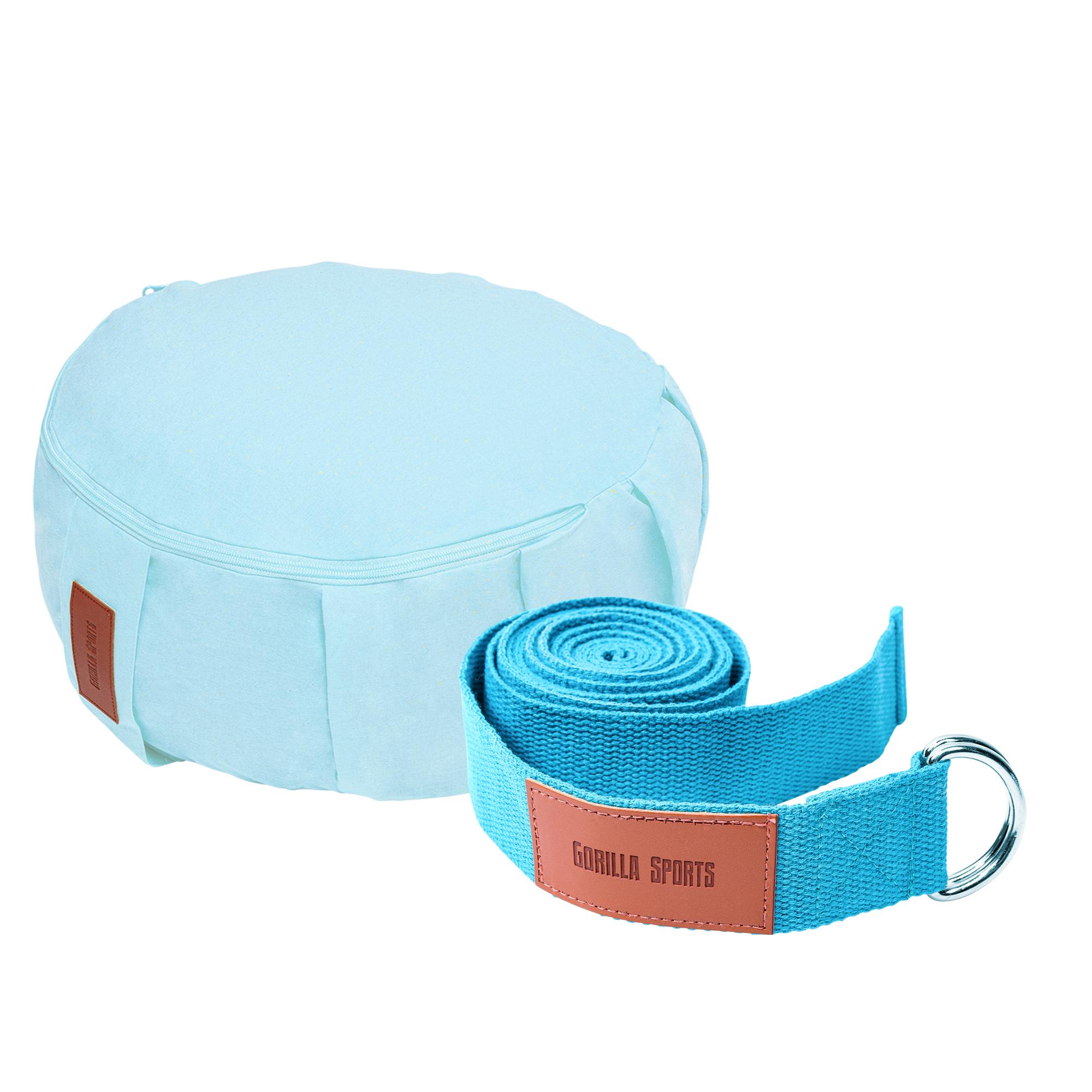 Gorilla Sports Yoga Set Blau/Türkis inkl. Yogakissen und Yogagurt 101133-00030-0001