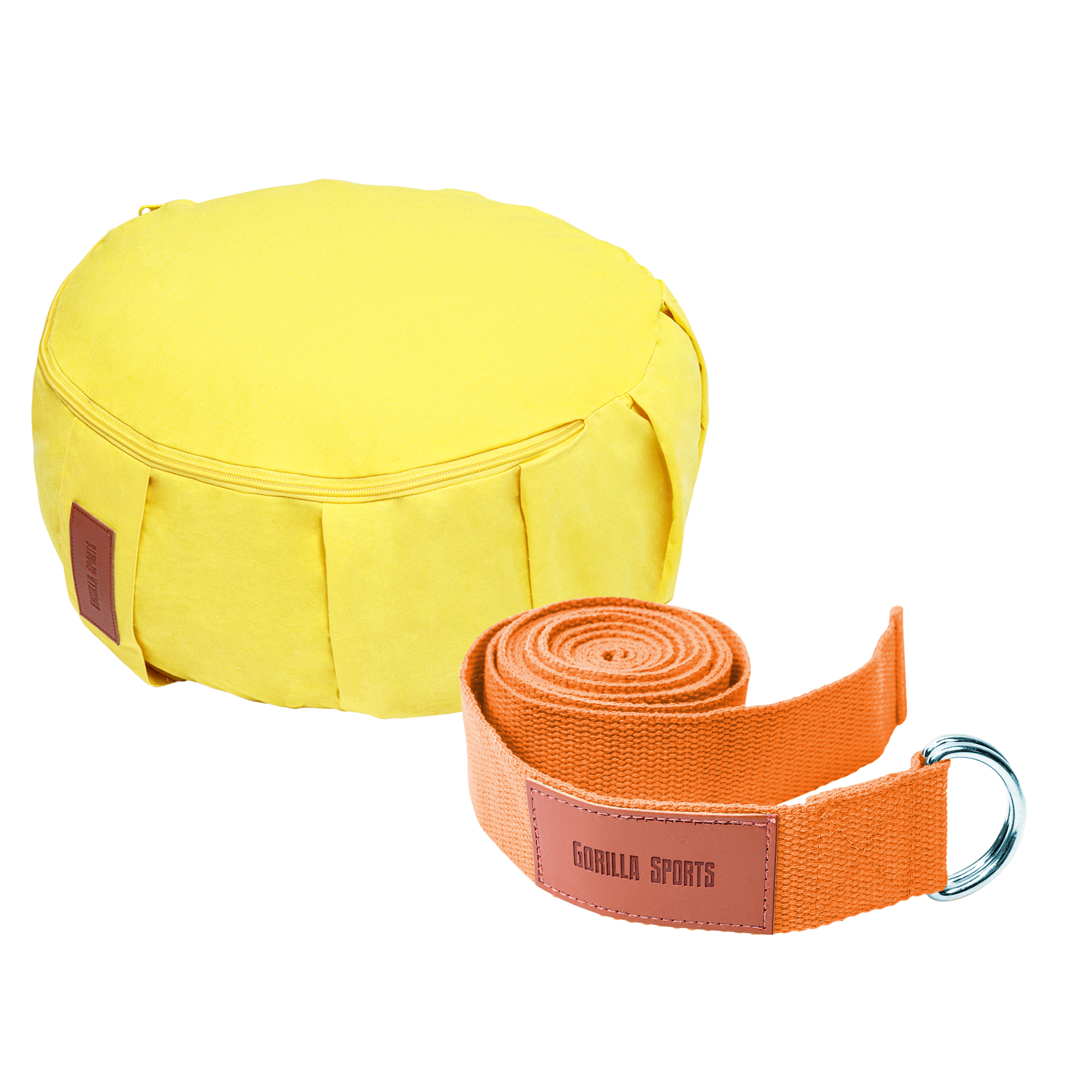 Gorilla Sports Yoga Set Gelb/Orange inkl. Yogakissen und Yogagurt 101133-00032-0001