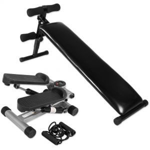 Sit Up Bank + Minifitnessstepper mit Expander Set