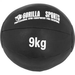 Medizinball Kunstleder Schwarz 9 kg