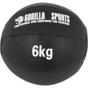 Medizinball Kunstleder Schwarz 6 kg