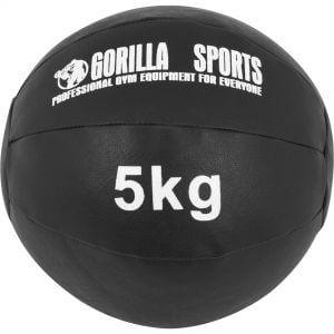 Medizinball Kunstleder Schwarz 5 kg