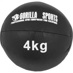 Medizinball Kunstleder Schwarz 4 kg