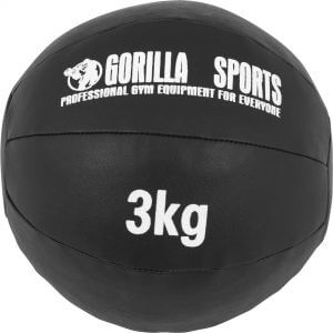Medizinball Kunstleder Schwarz 3 kg