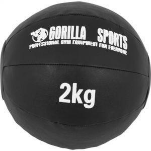 Medizinball Kunstleder Schwarz 2 kg